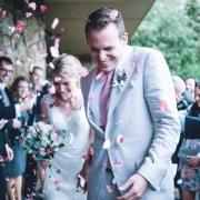 confetti, rose petals, suit