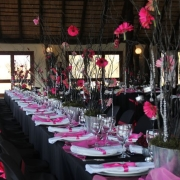 black and pink, reception, wedding venue