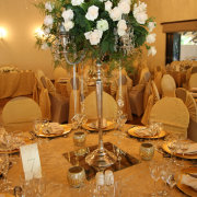 chair covers, flower centerpiece
