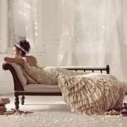 bridal wear, wedding dress, brown, cream, lace, wedding dress