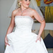 makeup, necklace, veil, wedding dress