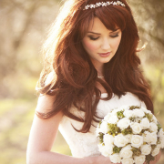 bride, photography, bouquet, hairstyle, headband, makeup