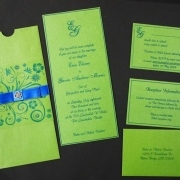 green, wedding invitation, wedding stationery