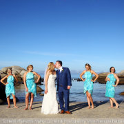 beach, bridal party, bridesmaids
