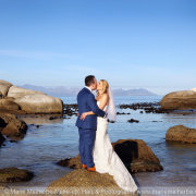 beach, bride and groom, mountain