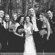 black and white, bridal party, bridesmaids, groomsmen