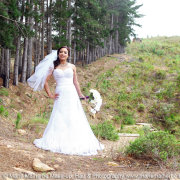 bouquet, forest, wedding dress