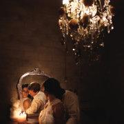 bride and groom, chandelier