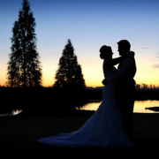 bride and groom, dam, night photography, wedding venue