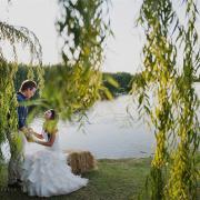 bride and groom, dam, outdoor photography, venue