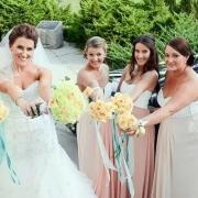 bouquet, bridesmaid dress, veil, wedding dress