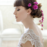hairstyle up, makeup, floral hairpiece