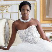 makeup, necklace, wedding dress