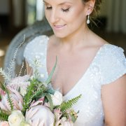 bouquet, earrings, makeup