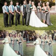bouquet, bridesmaid dress, suit, wedding dress
