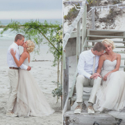 beach, suit, wedding dress
