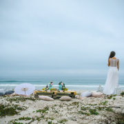 beach, wedding dress