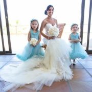 bouquet, flower girls, wedding dress