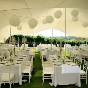 decor, marquee, outdoor reception, table setting, white wedding
