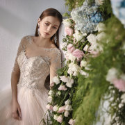 flowers, makeup, wedding dress