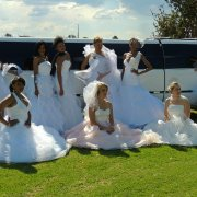 limousine, wedding dress
