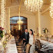 bride and groom, chandelier, decor