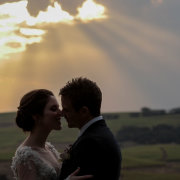 bride and groom, sunset