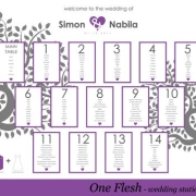 purple, seating chart, table numbers