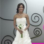 bridal wear, pearl white, wedding dress, white, bouquet, wedding dress, wedding dress