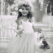 flower crown, flower girls, photography, black and white