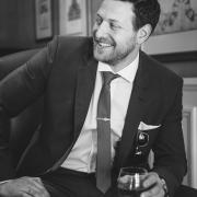groom, black and white, suit, tie