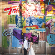 bride and groom, city