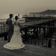 black and white, bride and groom, bridge, lace, wedding dress