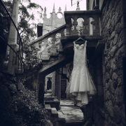 black and white photography, wedding dress, castle