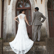 open back wedding dress, bride and groom, lace, wedding dress
