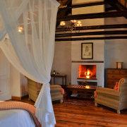 accommodation, bedroom, fireplace