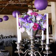 decor, purple, candles, centrepiece