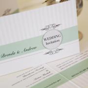 green, wedding invitation, wedding stationery