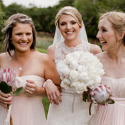 bouquet, bride, bridesmaids, protea