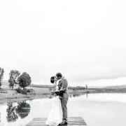 black and white, bride and groom, dam, pier