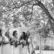 black and white, bridal party, bridesmaids