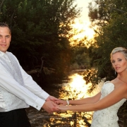 bride and groom, river