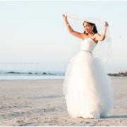 beach, veil, wedding dress