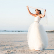 beach, veil, wedding dress
