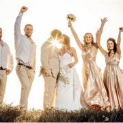 bridesmaid dress, groomsmen, suit, wedding dress