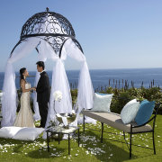 gazebo, sea, seating, wedding dress