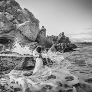 beach wedding, black and white, bride and groom
