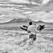 beach, black and white, mountain