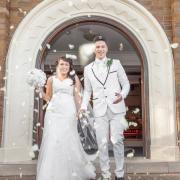 bouquet, confetti, suit, wedding dress
