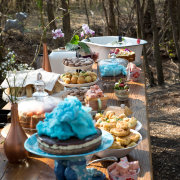 cake, candy, food, kitchen tea, snacks, table